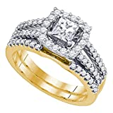 14k Yellow Gold Womens Princess Diamond Bridal Wedding Engagement Ring Band Set 1 Cttw