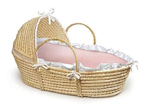 Natural Hooded Moses Basket with Pink Gingham Bedding by BABYcall