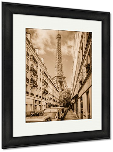 Eiffel Framed Print - Ashley Framed Prints Eiffel Tower Seen from The Street in Paris France Vintage Retro, Wall Art Home Decoration, Sepia, 40x34 (Frame Size), Black Frame, AG4911892