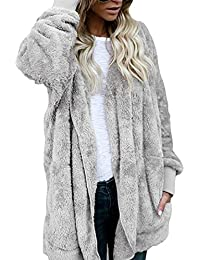 Women Winter Hoodie Fluffy Faux Fur Cardigan Coat Jacket Outerwear f29e5f11a2
