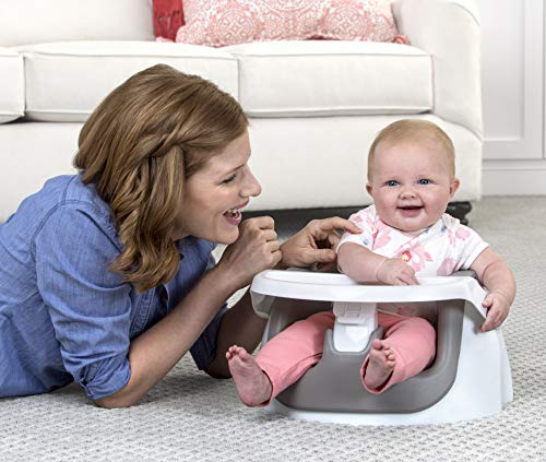 Regalo National Award-Winning Grow with Me Floor Seat and Activity Chair with Removable Feeding Tray, Cool Gray