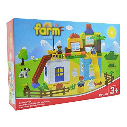 YAOSEN 89pcs Children Happy Farm Building Toy Colorful Plastic Puzzle Toy Set by YAOSEN