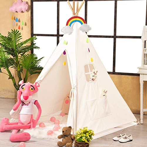 Sumbababy Teepee Tent for Kids with Carry Case, Natural Cotton Canvas Teepee Play Tent, Toys for Girls/Boys Indoor & Outdoor Playing. (The Best Canvas Tents)