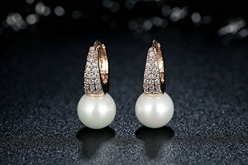 Amazon.com: Aretes de Mujer Pendientes Joyería Fina De Moda Rose Gold Earrings for Women with Pearls & Crystals AR0012: Jewelry