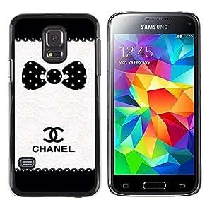 rígido protector delgado Shell Prima Delgada Casa Carcasa Funda Case Bandera Cover Armor para Samsung Galaxy S5 Mini, SM-G800, NOT S5 REGULAR! /Dot Brand White Black Pattern/ STRONG