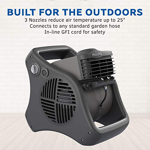 Lasko 7050 Misto Outdoor Misting Fan - Features Cooling Misters, Ideal for Camping, Patios, Picnics, & more