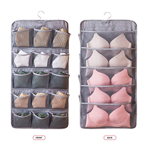 Linen type cloth Dual Sided Wall Shelf Wardrobe Organizers Storage Bags,Closet Hanging Organizer with 20 amplify Mesh Pockets & Rotating Metal Hanger,for Bra Underwear Underpants Shoes Sock ()