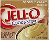 Jell-O Cook and Serve Pudding and Pie Filling, Coconut, 3-Ounce Boxes (Pack of 72)