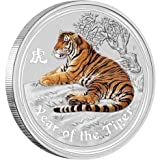 2010 Perth Mint 1/2 oz Silver Tiger (Enameled)