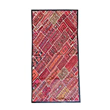 Mogul Orange Wall Hanging Embroidered Patchwork Kutch Wall Hanging Table Tapestry