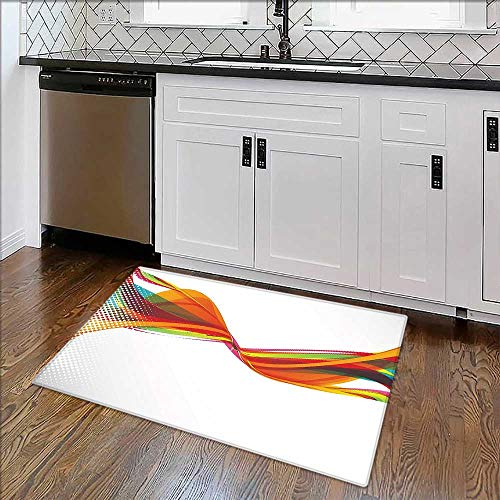Soft Microfiber Shag Bath Rug Rainbow Curved Wave Smoke Like Image with Pixel Detailed Artwork Orange Red and Weather-Proof and Mold