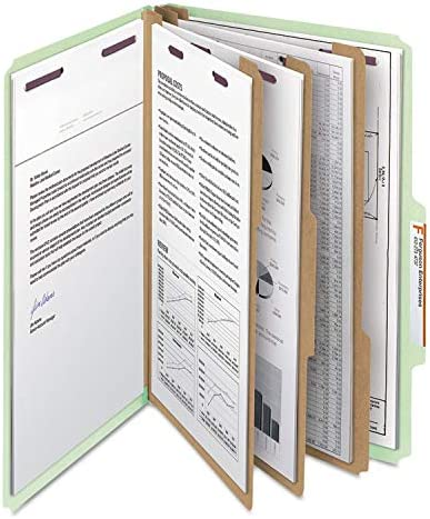 Smead 19091 Gray//Green Pressboard Classification Folder with SafeSHIELD Fasteners SMD19091