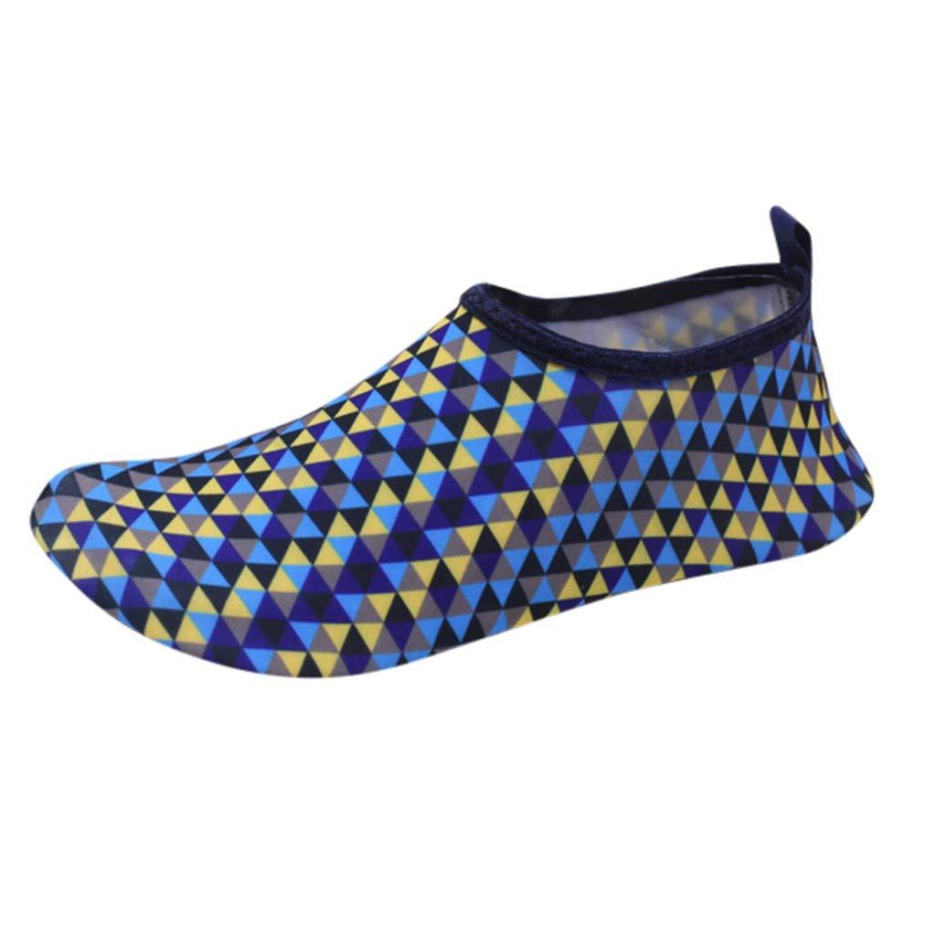 LisYOU Women Men Water Shoes Quick Dry Barefoot Aqua Yoga Beach Swim Boating Socks Surf Safe (CN 34-35, E-Blue)