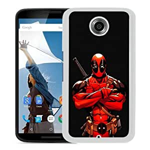 Popular Google Nexus 6 Case ,Beautiful And Unique Designed With Deadpool Comics Red Wade Wilson Marvel Band White Google Nexus 6 Cover
