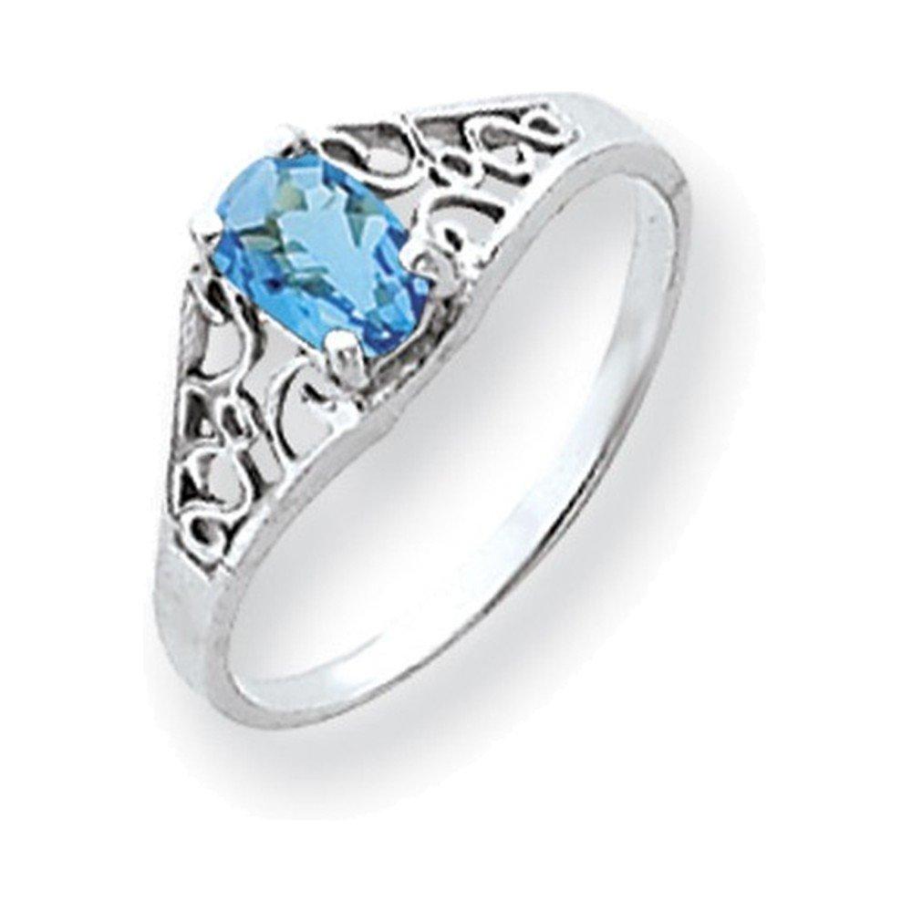 Jewelry Adviser Rings 14k White Gold 6x4mm Oval Blue Topaz ring