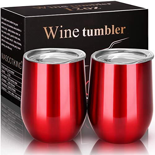 MASCOTKING Wine Glasses Tumbler - 12 oz 2 Pack - Double Wall Vacuum Insulated Cup with Lids for Keeping Wine, Coffee, Drinks - Beverage Warm in Winter -Perfect Father's Day -