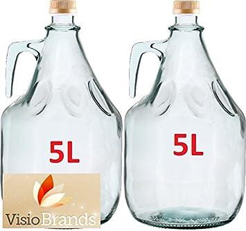 MultiDepot Conjunto de 2 botella de cristal de garrafa de completa 5L BDG5Z: Amazon.es: Hogar