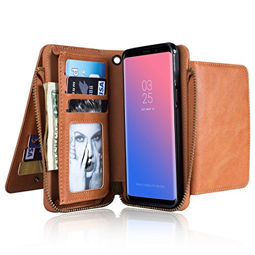 Samsung S8 Purse Cover,Businda PU Leather Retro Vintage Stand Smart Wallet Credit Card Slots Purse Outdoor Pouch Magnetic Phone Sleeve for Samsung S8 by Businda