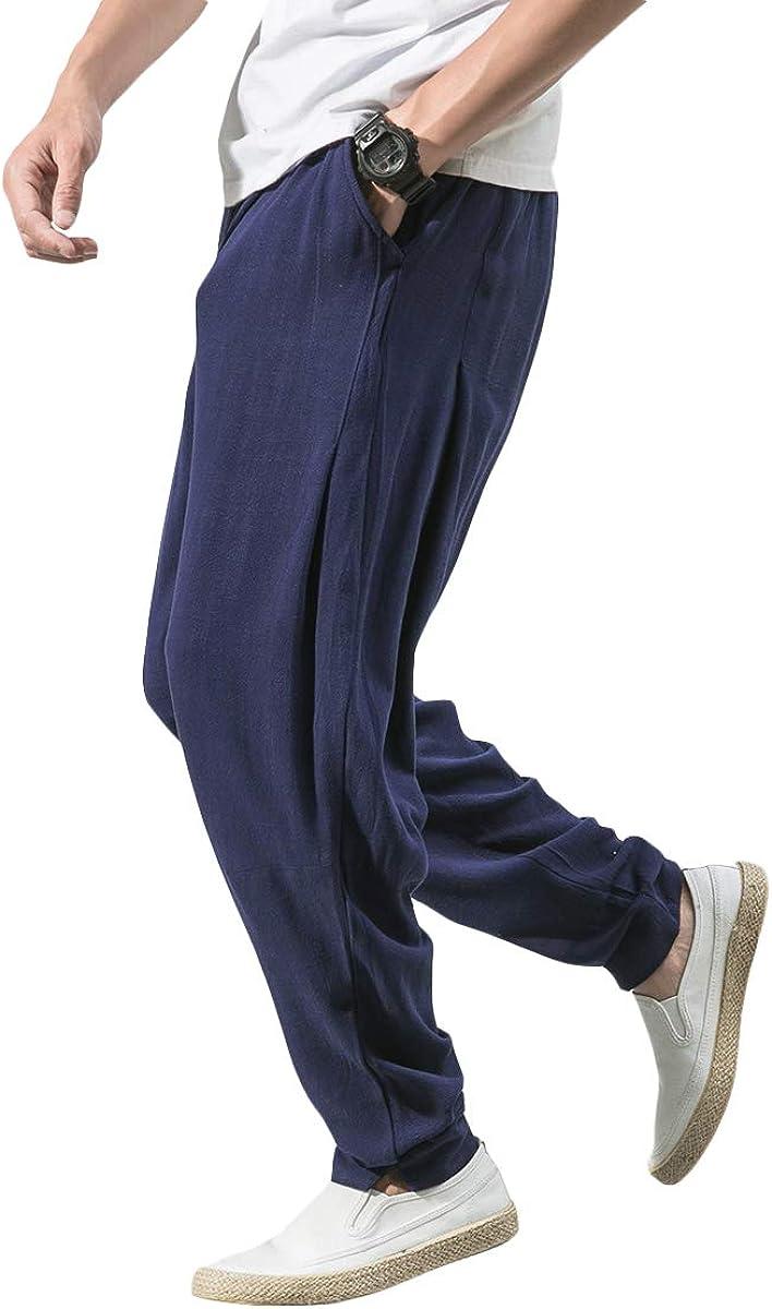 YOUTHUP Pantaloni da Uomo Casual Vita Elastica Pantaloni di Lino Regular Fit