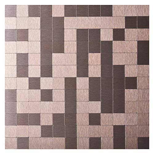 Art3d Peel and Stick Tiles Modern Aluminum Mosaic, Old Kettle (5 Tiles)