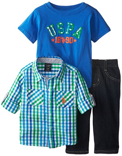 U.S. Polo Assn. Baby Boys Three Piece Button Front and T Shirt Set