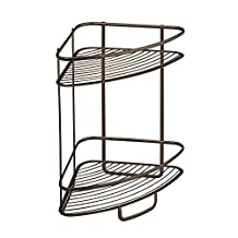 InterDesign Axis Free Standing Bathroom or Shower Corner Storage Shelves for Towels, Soap, Shampoo, Lotion, Accessories, Soap - 2 Tier, Bronze