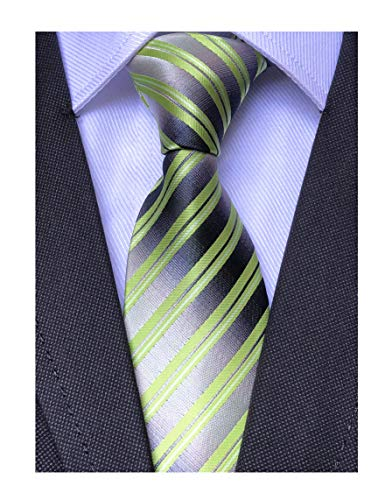 Mens Boys Lime Green Silver Grey Silk Ties Dress Meeting Novelty Pattern Necktie ()