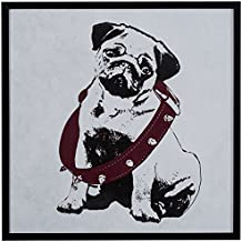 "Rivet Puppy Eyed Dog in Burgundy Collar Print in Black Frame, 12.5"" x 12.5"""