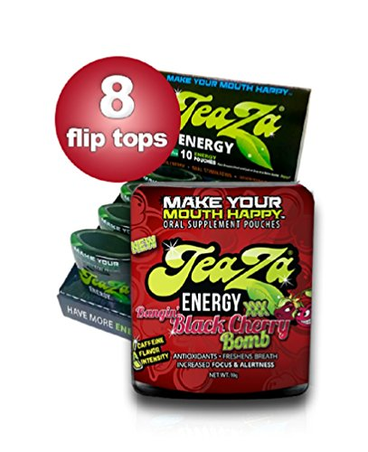 TeaZa Energy's Bangin' Black Cherry Bomb 8 Flip Tops - Have More Energy Anywhere!