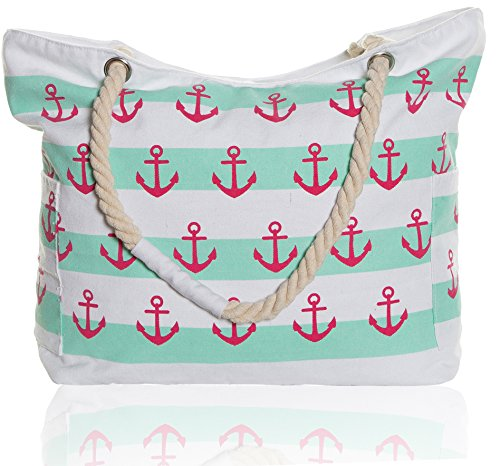 Beach Mint - Beach Bags - Extra Large Waterproof Canvas Striped Beach Bag Tote For Women