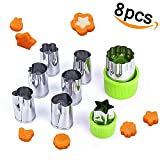 Vegetable Cutter Shapes Set (8 Piece) Vegetable Cutter for Kids, Kids Baking and Food Supplement Tools Accessories Crafts for Christmas (Green)