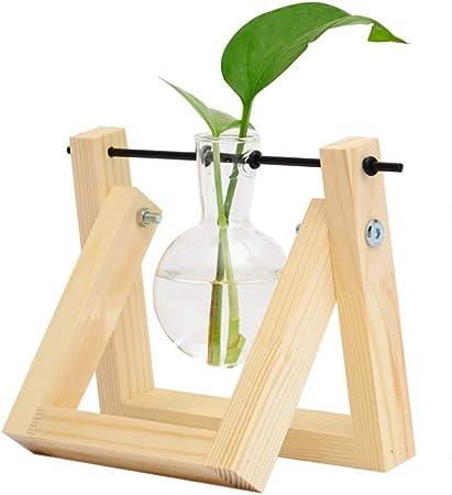belupai jarr/ón de bulbos de Plantas con Soporte de Madera Maciza Retro y Soporte de Varilla giratoria de Metal para Plantas hidrop/ónicas Jardinera de Escritorio de Vidrio para