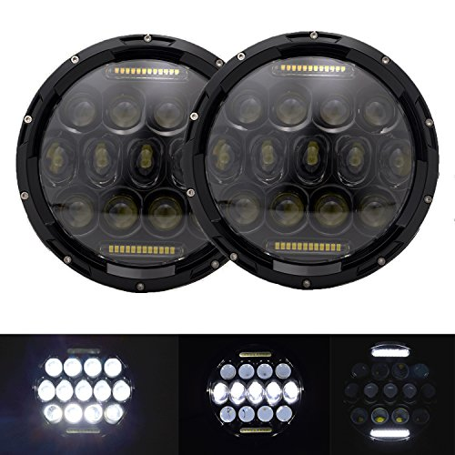 AOSI 2PCS 7 Inch Round LED Headlight 75W Multi-Beam Low/High w/DRL Black (High Beam Classic Body)