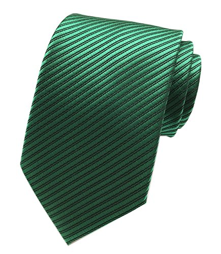 Secdtie Men's Slim Dark Green Woven Polyester Ties Casual Party Wedding -