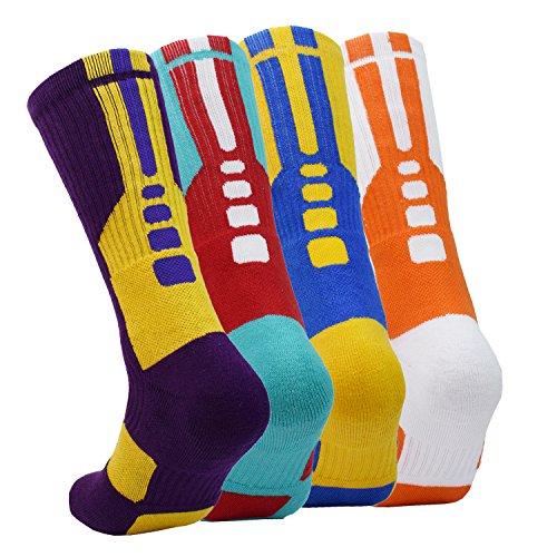 Basketball Crew Socks - 4 Pairs Men Athletic Basketball Crew Socks Performance Sport Dri-Fit Cushion Long Compression Cotton Sock,Size 6.5-11.5