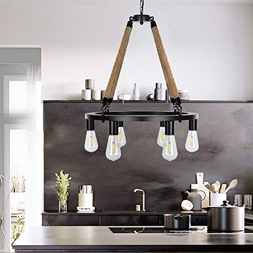 Osairuos Wagon Wheel Vintage Rope Chandelier Kitchen Island Rustic Pendant Farmhouse Chandeliers Ceiling Light Fixture for Dining Living Room Cafe Hallways Entryway 6-Lights W22