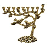 Ner Mitzvah Vintage Aluminum Candle Menorah - Fits all Standard Chanukah Candles - Tree of Life Design with Antique Gold Finish