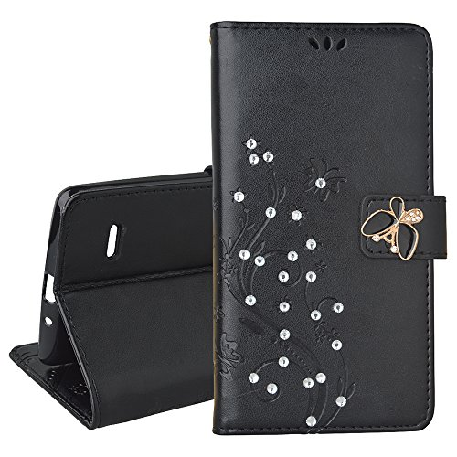 SpritechTM-LG-G-Stylo-Cellphone-Bling-CasePU-Leather-Wallet-Slim-Fold-Phone-Cover-3D-Handmade-Bling-Rhinestone-Floral-Design-with-Card-Slot