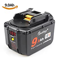 Micotechnology BL1830 18V Battery 9.0Ah for Makita LXT-400 BL1860 BL1890 High Demand Battery with LED Indicator 9000mAh