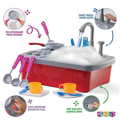 51ORb4sPAmL - Play22 Kitchen Sink Toy 17 Set - Play Sink Play House Pretend Toy Kitchen Sink with Running Water - Kids Toy Sink with Real Faucet & Drain, Dishes, Utensils & Stove - Kitchen Toys for Toddlers & Kids