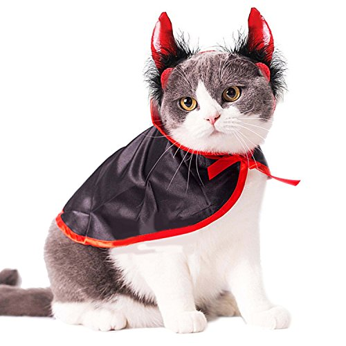 Legendog Cat Costume Halloween Pet Costumes Red Velvet Pet Cape with Hat Pet Apparel for Small Dogs and Cats (Cape & Horn)