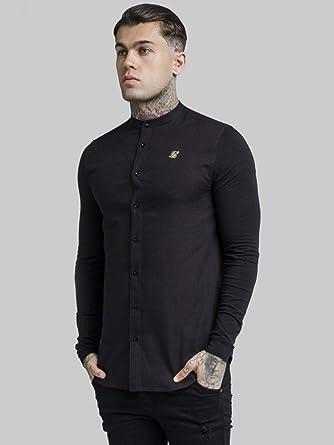 Sik Silk de los Hombres Camisa de Abuelo, Negro, XL: Amazon.es: Ropa y accesorios