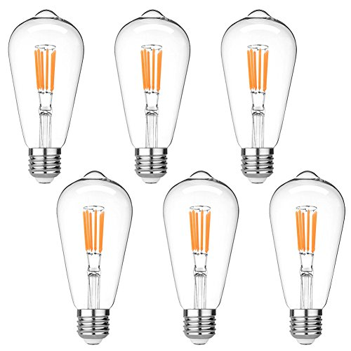 LEDERA ST64 Edison LED Bulb Dimmable, 60W Halogen Equivalent, Vintage LED Filament Bulbs, E26 Medium Base, 600lm, 2700K Warm White, Clear Glass - Bulb Halogen 60w Clear