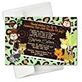 Cheetah Monkey Safari Animal Baby Shower Birthday Party Invitations