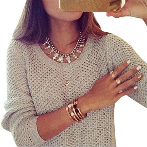 Gillberry Women Long Sleeve Loose Sweater Knitted Sweater Knitwear Cardigan Tops (M, Beige)