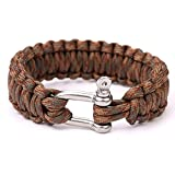 550 Parachute Cord Military Survival Bracelets Stainless Steel Shackle Bangles (Coffee Camouflage)HW080