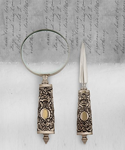 Magnifying Glass Letter Opener (Store Indya,Gifts Magnifier Handcrafted Magnifying Glass Knife Reading Solid and Envelope Letter Opener)