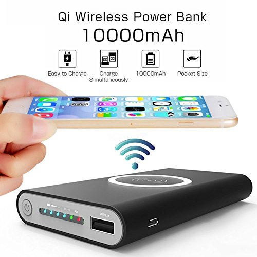 QI Fast Power Bank Cell Phone Protable Battery Pack Wireless Charger 10000Mah Power Bank with Fast Charger Port for iPhone X/8/8 Plus,Samsung Galaxy S6/S7/S8 (Black)