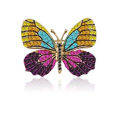 TAGOO Elegant Winged Butterfly Vintage Colorful Rhinestone Brooch Pin in Crystal for Women&Girls (Elrond Crown)