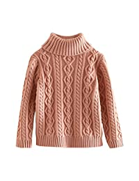 SPRMAG Christmas Kids Girls Solid long Sleeve Turtleneck Sweater Pullover